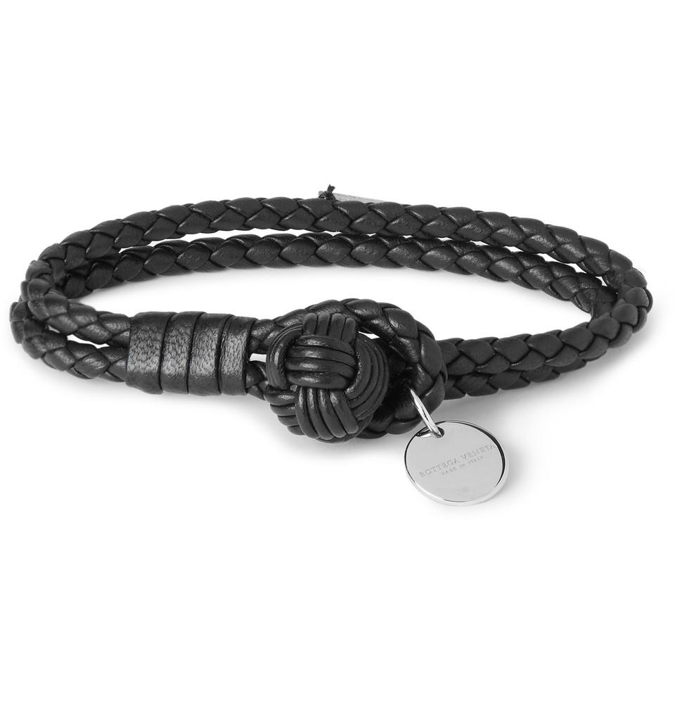 bottega veneta intrecciato leather knot bracelet the