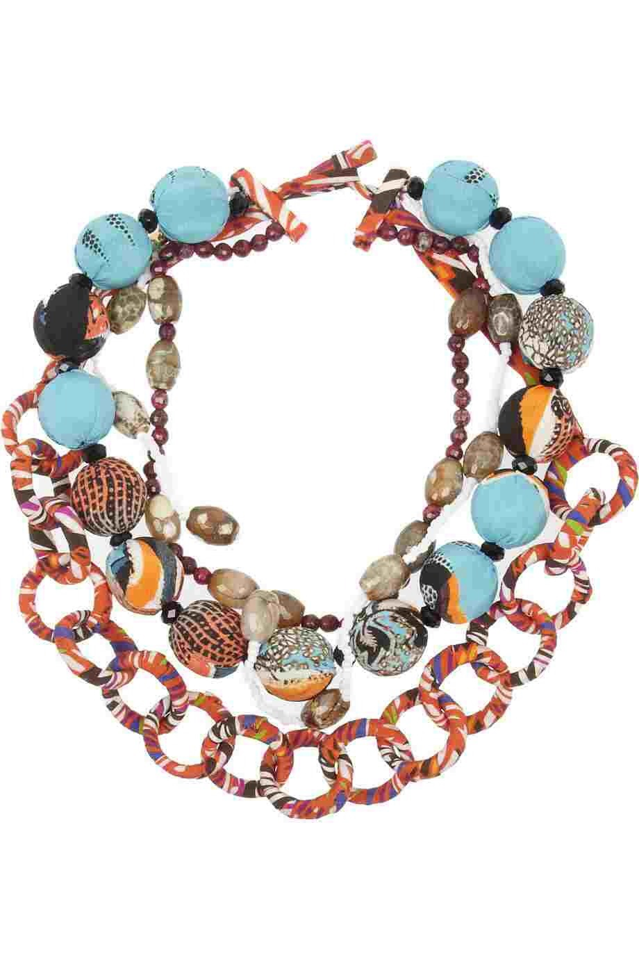 etro printed silk and bead necklace the fresh